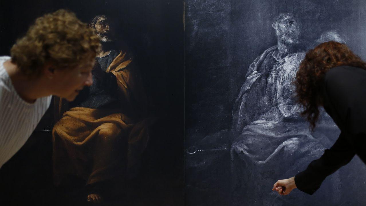 La figura oculta, posiblemente un san Jerónimo penitente, descubierta en el cuadro de Francisco Collantes