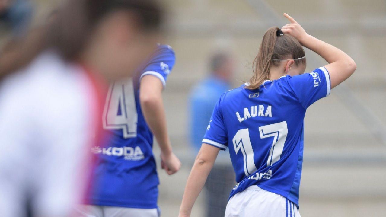 Gol Laura Real Oviedo Femenino Monte Diaz Vega.Laura celebra uno de sus goles ante el Monte