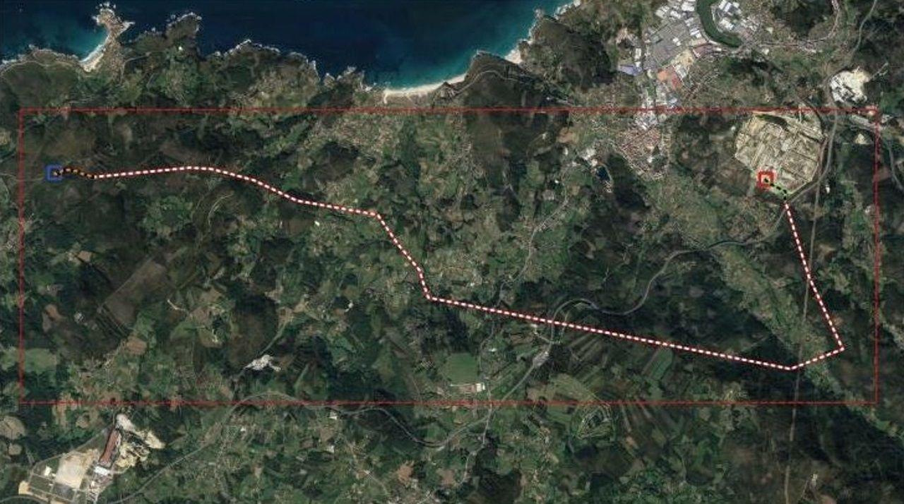 Espacio por el que está previsto el paso del tendido eléctrico en el municipio de Arteixo