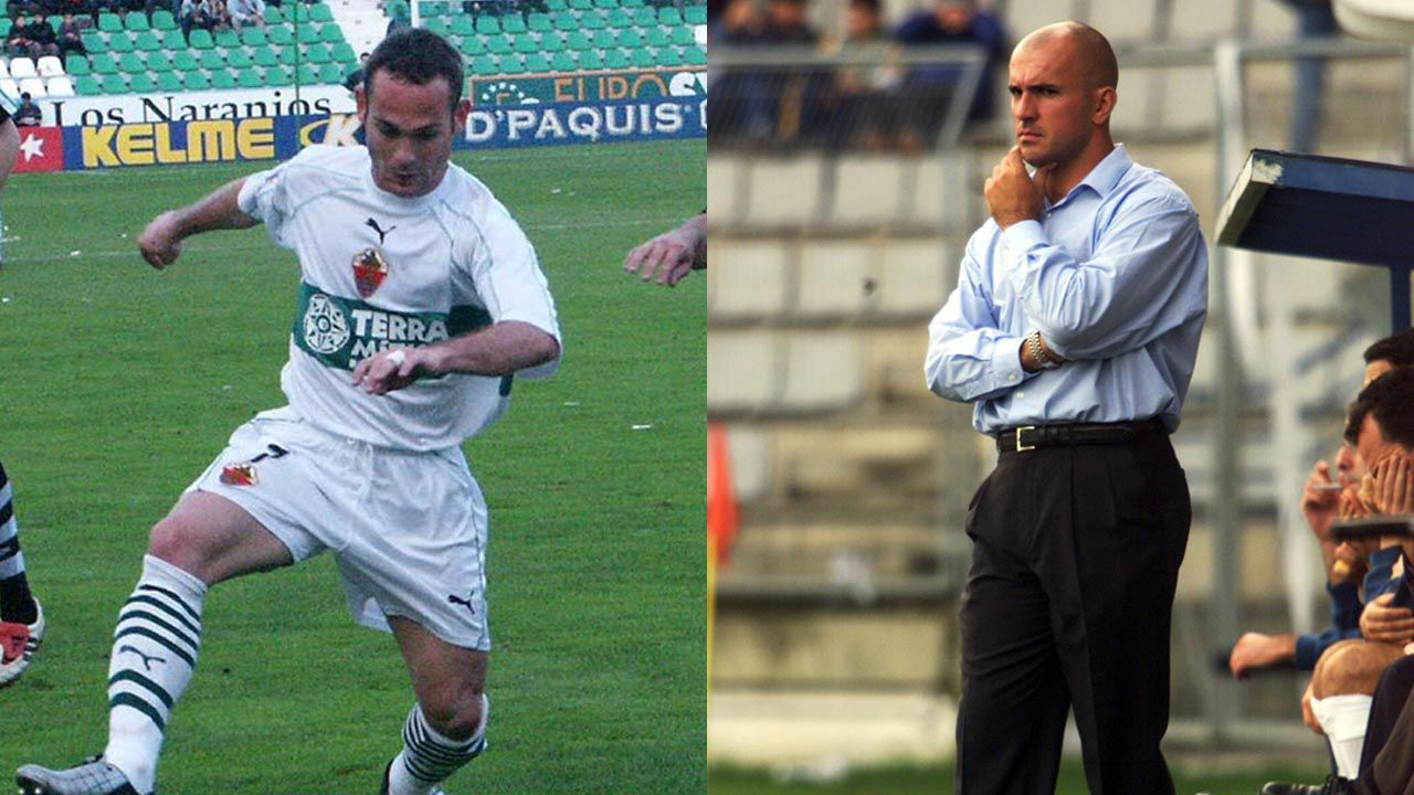 El temporal en Galicia.Nino, durante un partido en el 2002 contra el Racing de Ferrol, club en el que dirigió el arousano.