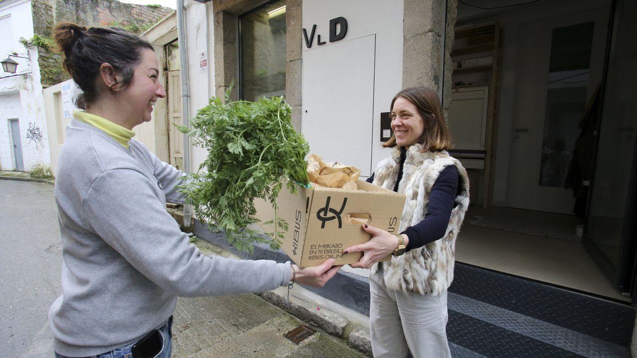 Laura, empleada de kibus.online, entrega un pedido de fruta y verdura a Cristina Agulló, una joven de Ferrol Vello que se ha hecho clienta del mercado a raíz de la puesta en marcha del servicio