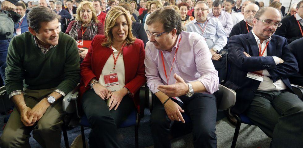 Javier Fernández, Susana Díaz, Guillermo Fernández Vara y Javier Lambán, en el comité federal del pasado sábado.