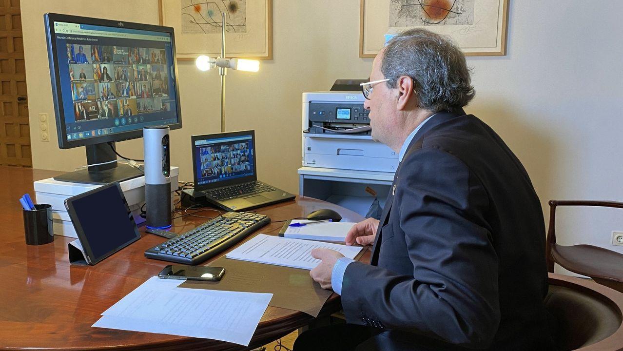 En directo: comparecencia de Feijoo para dar cuenta de la conversación con Pedro Sánchez.Torra, durante una comparecencia telemática en su despacho