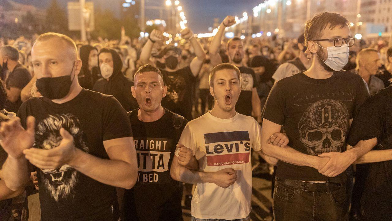 Huca, Oviedo .Manifestantes protestan contra el presidente de Bielorrusia, Alexander Lukashenko y reclaman una repetición de las elecciones que consideran manipuladas