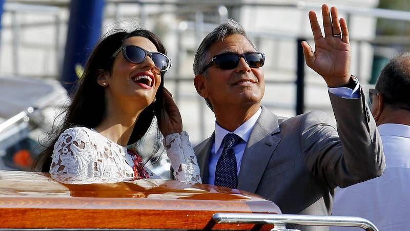 Clooney disfruta sus primeras horas de casado