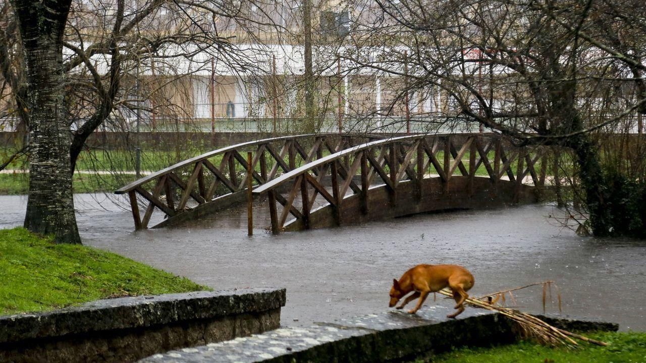 Inundaciones y desperfectos por las lluvias caídas en la pasada noche en Gondomar.Imagen de un hostelero limpiando su negocio en una de las inundaciones que ha sufrido la zona de As Brañas