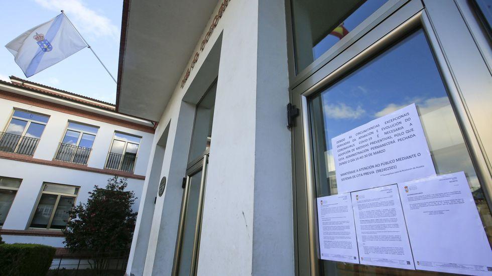 Carteles a la entrada del ayuntamiento que informan de las restricciones en la atención presencial