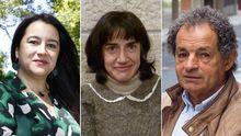 López Sández (izquierda), es profesora de secundaria y de la USC, así como ensayista y narradora. Acuña (centro), investigadora y docente en la UVigo. Y García Lapido (derecha), poeta padronés y activista cultural, presidió la asociación O Sacho.