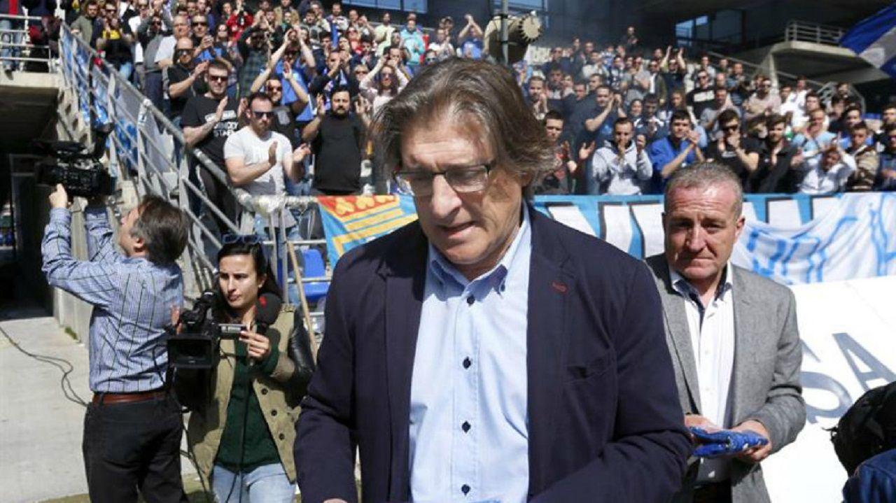 Sergio Egea, el día de su despedida del Real Oviedo en marzo de 2016