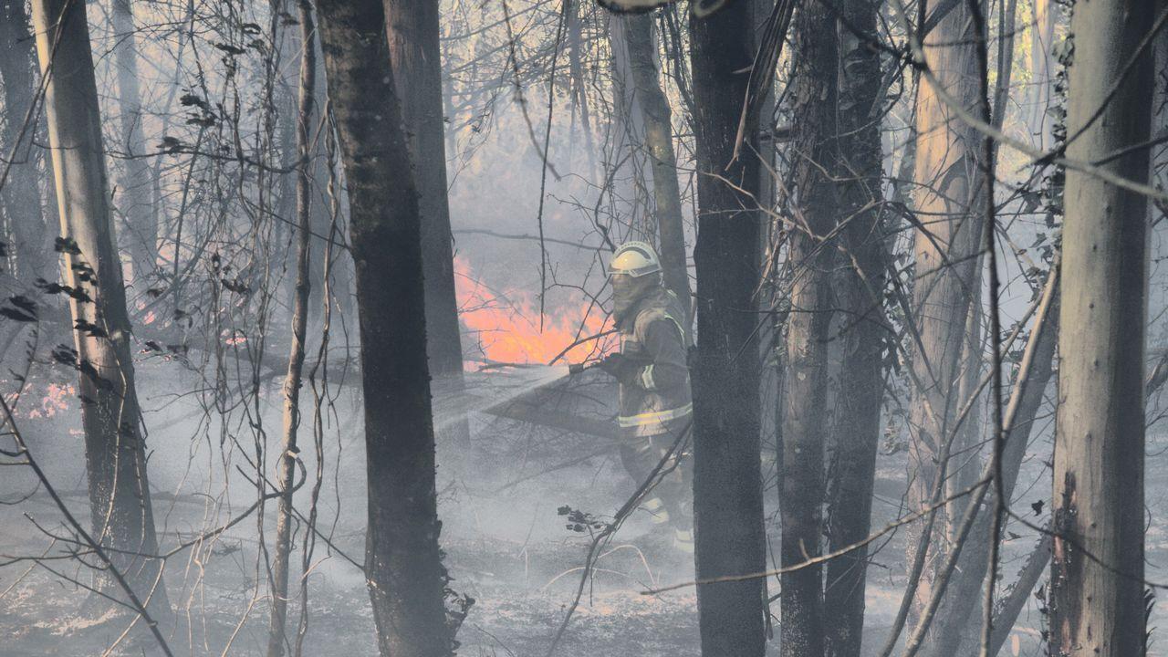 Incendio en Louriño.Imagen del incendio en Narahío