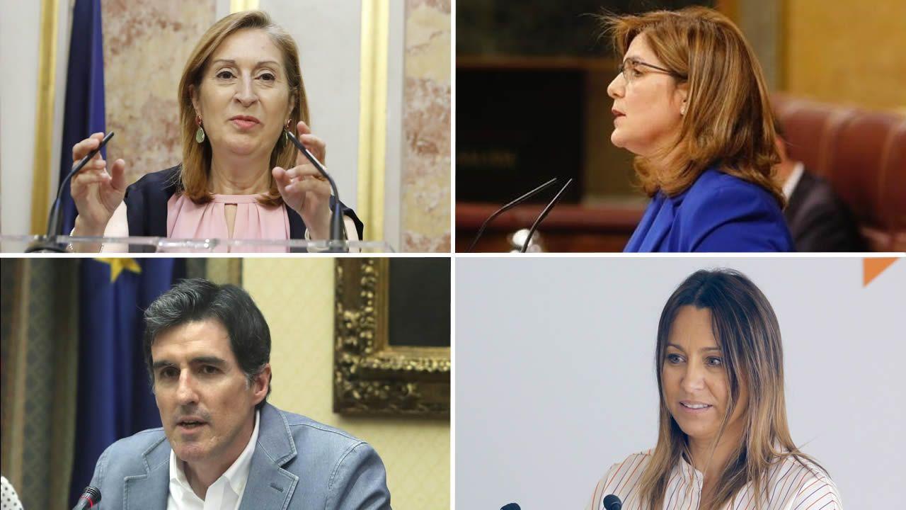 Representantes gallegos en las comisiones de Congreso y Senado.José Manuel Barreiro y Elena Candia (izquierda) y Patricia Otero y Ana Prieto (derecha), minutos después de conocer los resultados