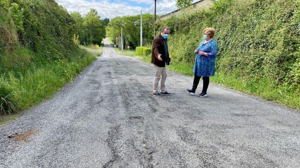 El alcalde muestra los baches que proliferan en la carretera a la diputada Carme Aira