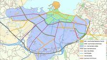 Plano que muestra la jerarquía viaria planteada en el Plan Integral de Movilidad Sostenible y Segura de Gijón
