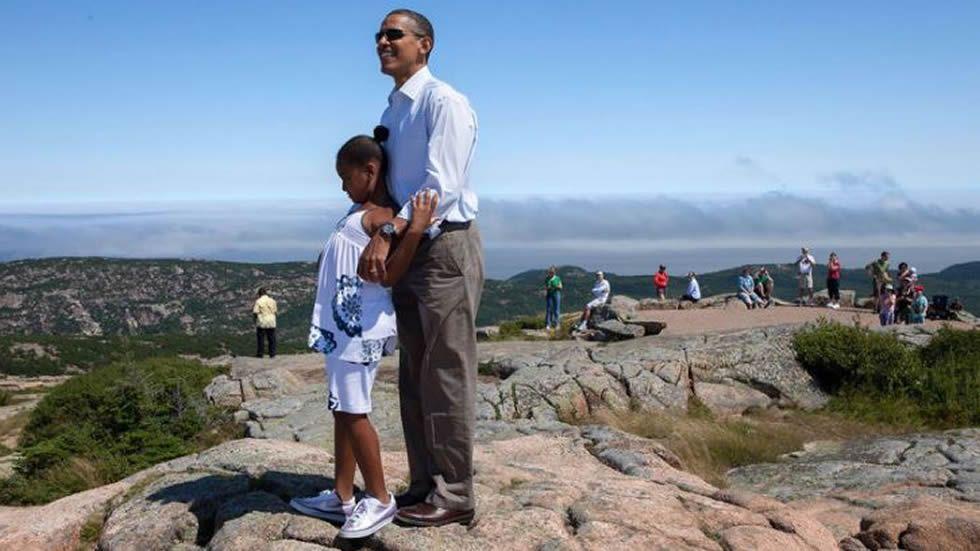 Con su hija Sasha, disfrutando de las vistas en el Parque Nacional de Acadia (Maine)