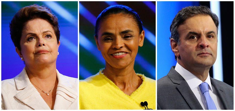 Dilma Rousseff, Marina Silva y Aecio Neves