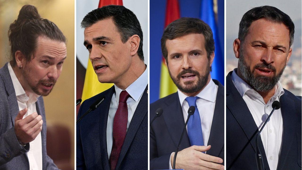 Casado retira nieve de las puertas de varios centros de salud de Madrid.Iglesias, Sánchez, Casado y Abascal