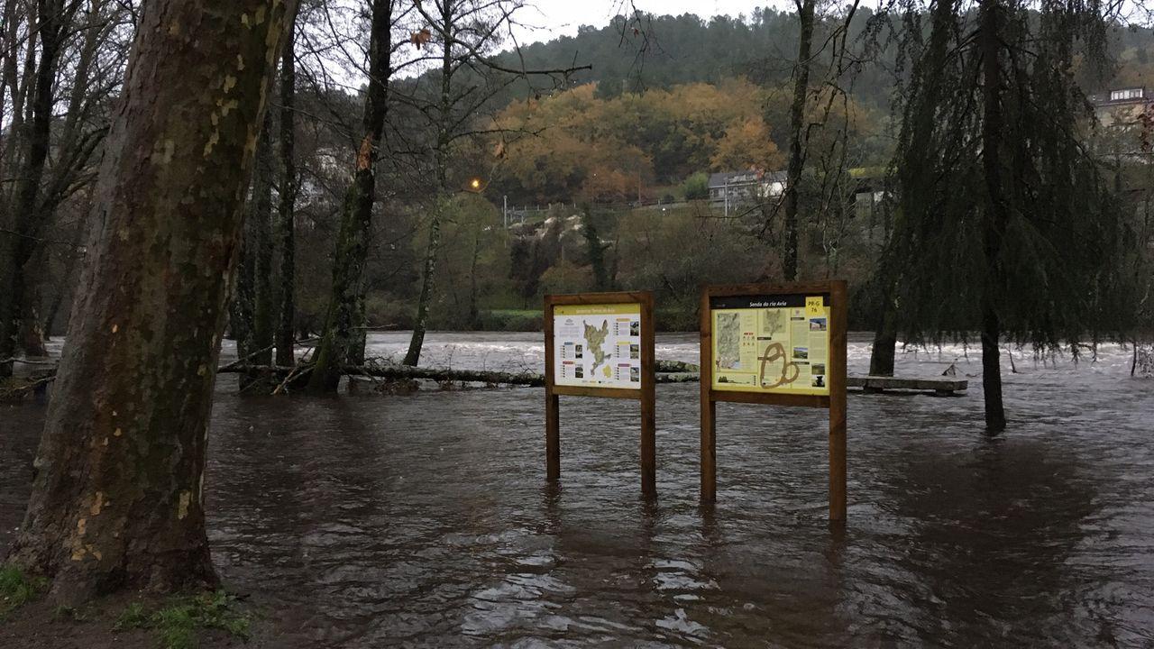 ASÍ HA CASTIGADO EL TEMPORAL A OURENSE.El río Avia desbordado en a Veronza, en Ribadavia