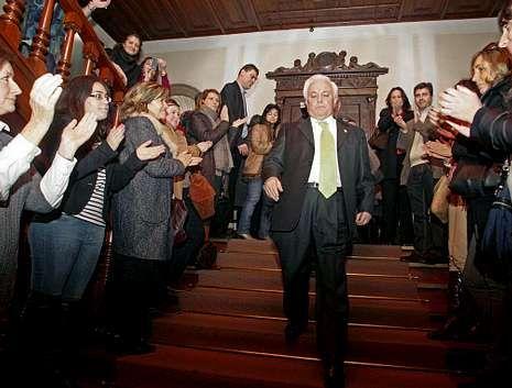 Baltar Pumar, tras anunciar hace un año su despedida de la política, en la Diputación de Ourense.