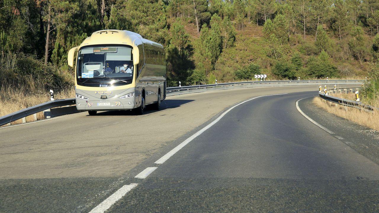 La N-547, entre Guntín y Palas
