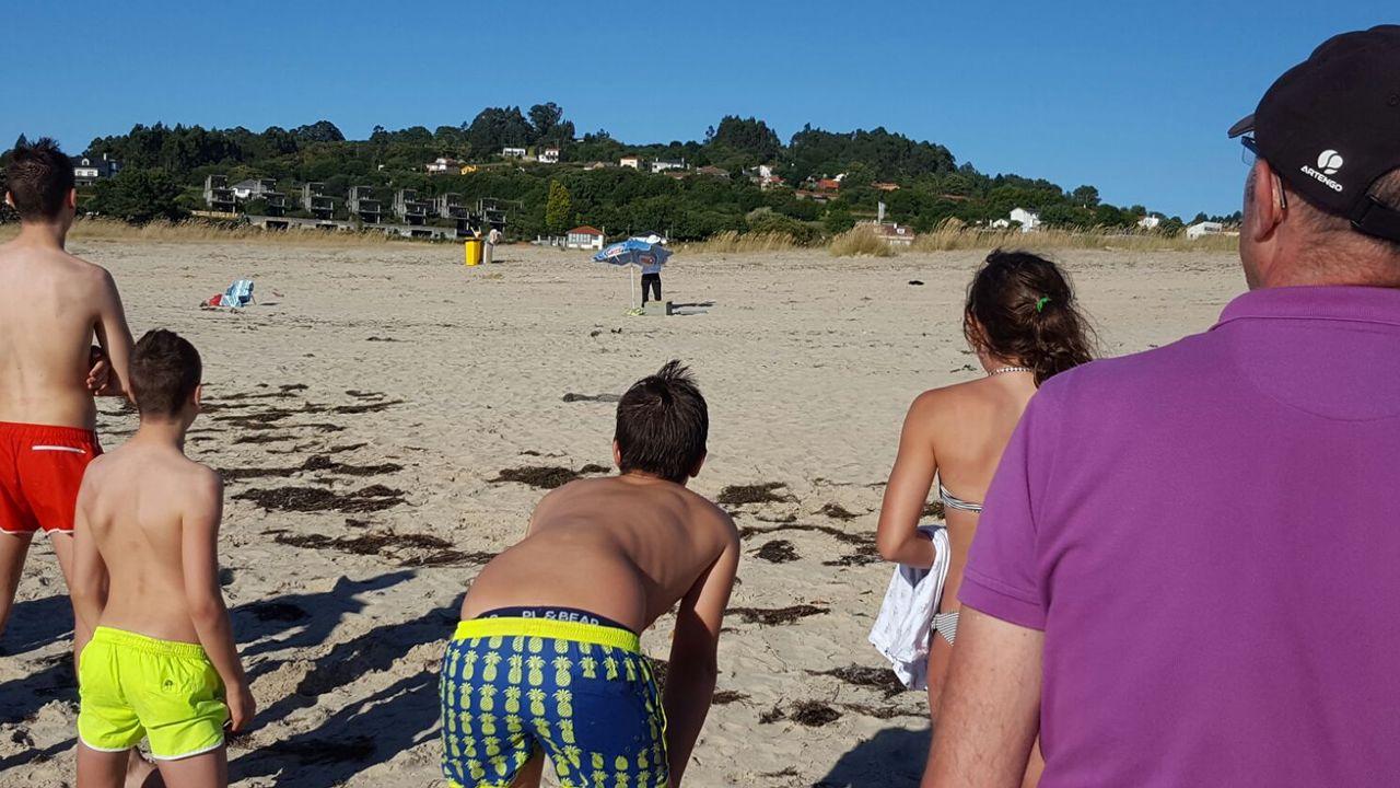 Una invasión de abejasobliga a desalojar una playa de Miño.Dueños de la pescadería Nasa