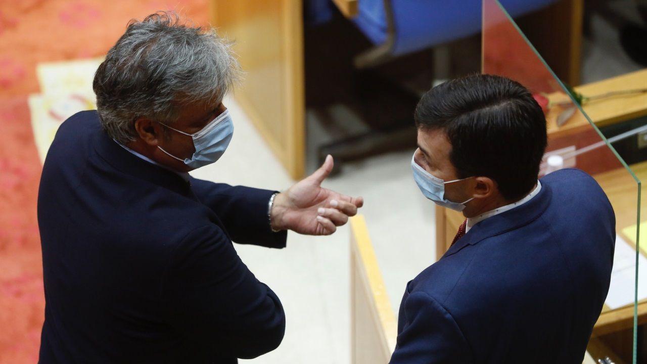 El diputado del PP Pedro Puy dialoga con el líder del PSdeG, Gonzalo Caballero