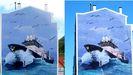 A la izquierda, el mural original, a la derecha, ya con el lobo sustituyendo a Castelao
