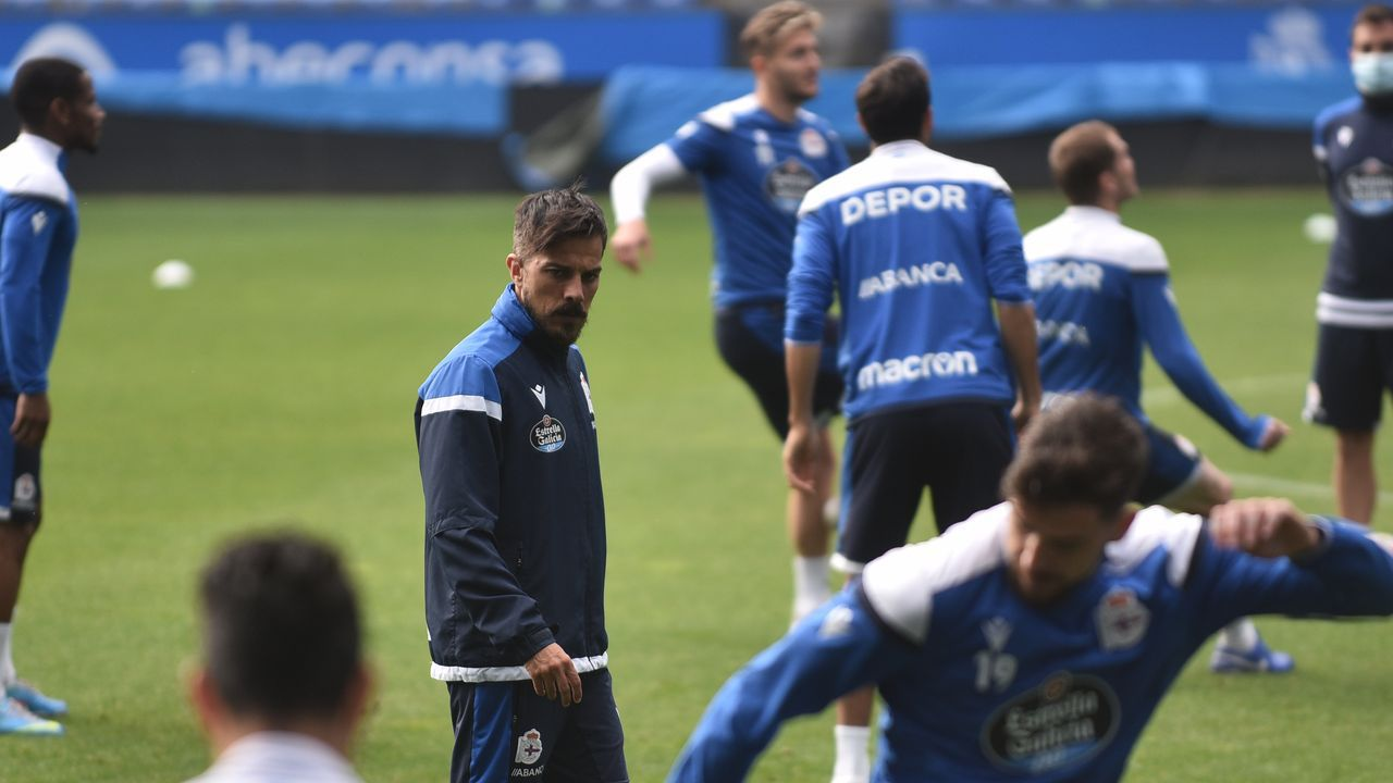 Rubén de la Barrera, durante un entrenamiento en Riazor
