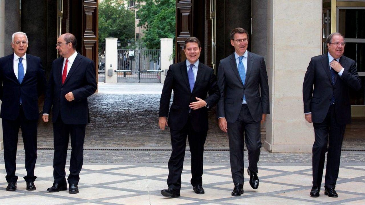 Batalla campal en Agroexpo, Extremadura.Los socialistas Javier Lambán y Emiliano García-Page, y el popular Alberto Núñez Feijoo son tres de los presidentes autonómicos que reclaman al ministerio las cantidades que adeuda