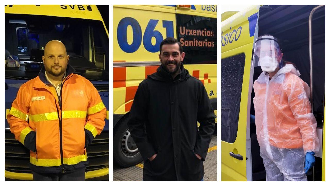 La lucha mundial contra el COVID-19, en imágenes.Fernando Martínez, Diego Cobos y Raquel Cundíns, técnicos de emergencias sanitarias de ambulancias