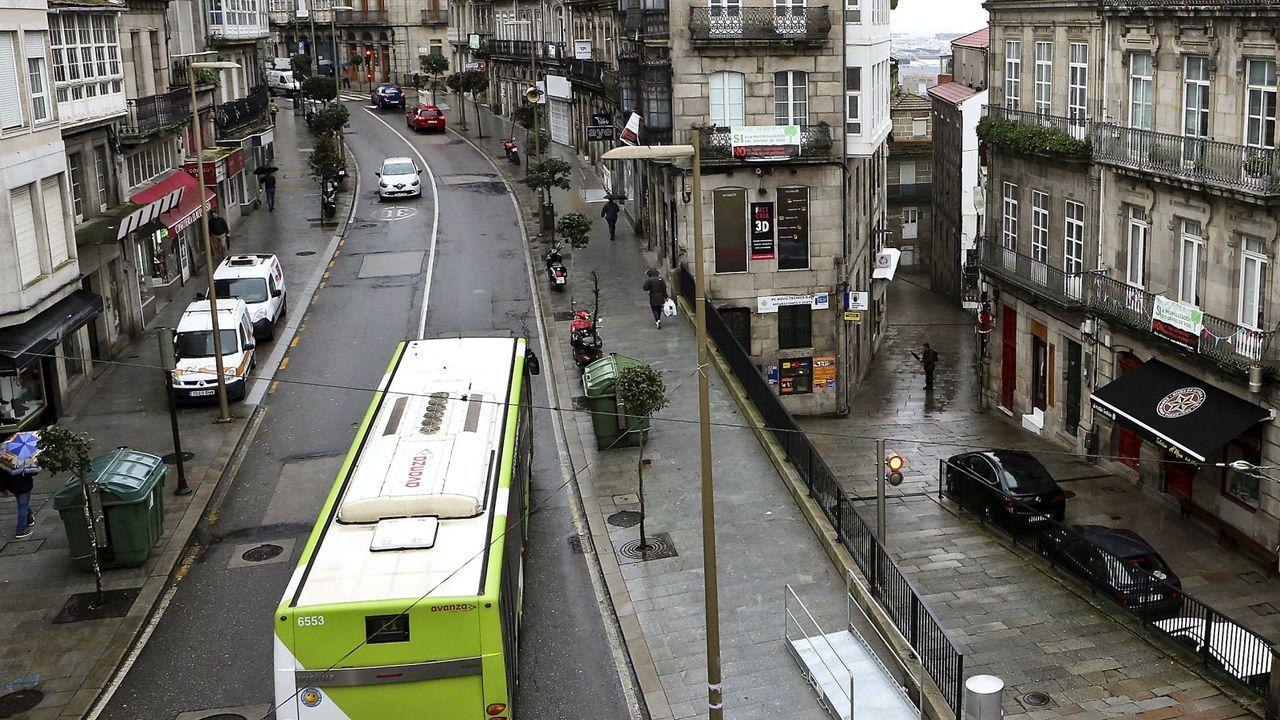 Calles semivacías en Vigo