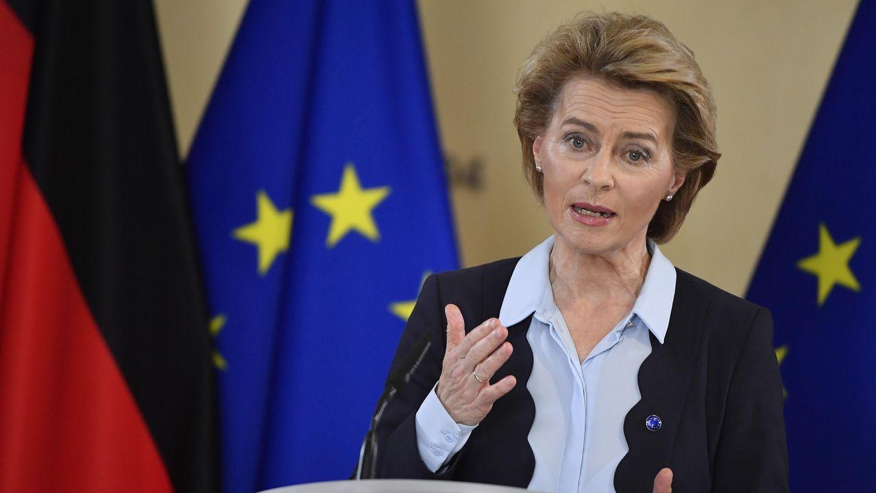 Von der Leyen, durante la rueda de prensa tras su encuentro digital del jueves con Merkel