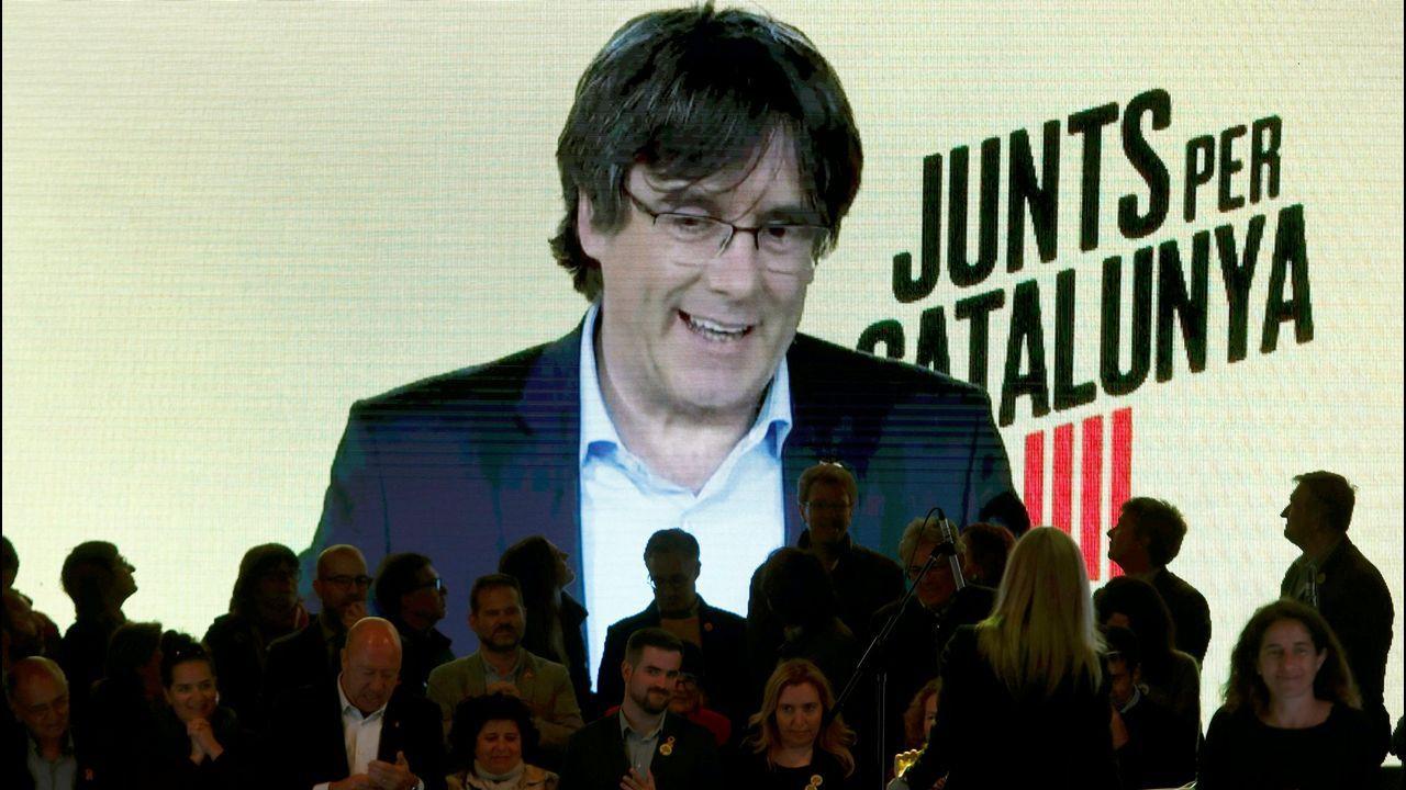 Ana Pontón, na presentación da candidatura do BNG ás eleccións europeas, que encabeza Ana Miranda (xunto á voceira do Bloque)