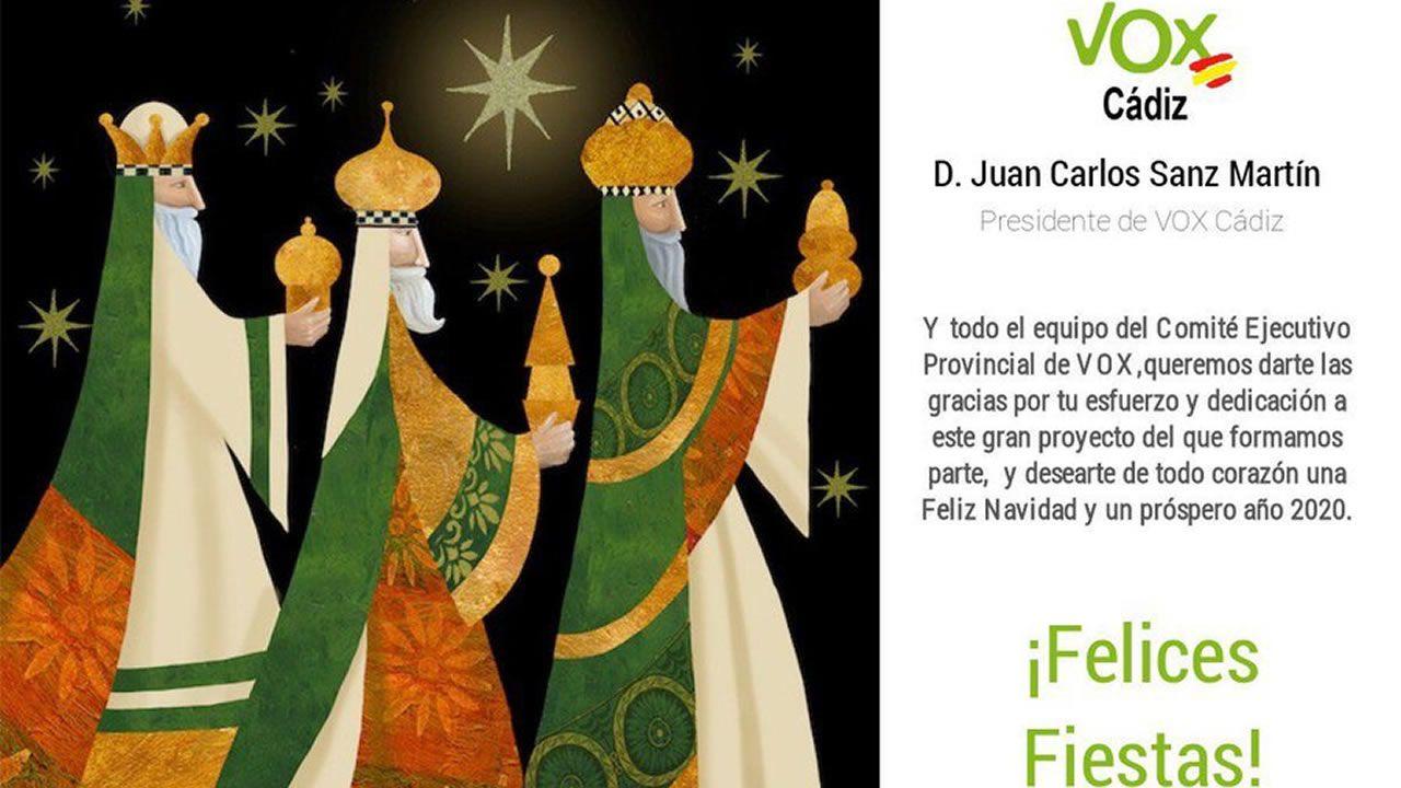 Felicitación navideña enviada por Vox Cádiz a los medios de comunicación