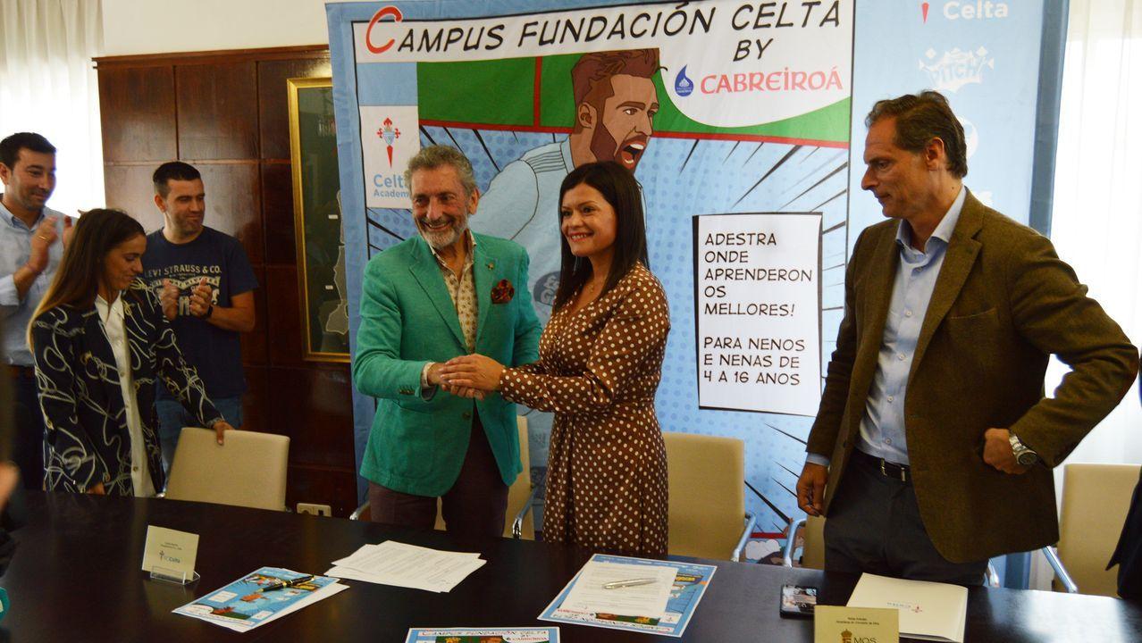 Mouriño y Arévalo, en la presentación del Campus del Celta en Mos