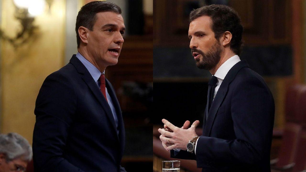 Pedro Sánchez y Pablo Casado, en el Congreso