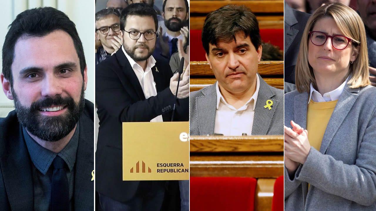 La CUP anuncia una abstención que permitirá a Quim Torra ser elegido presidente de la Generalitat.Roger Torrent (1979); Pere Aragonés (1982); Sergi Sabriá (1975); Elsa Artadi (1976)