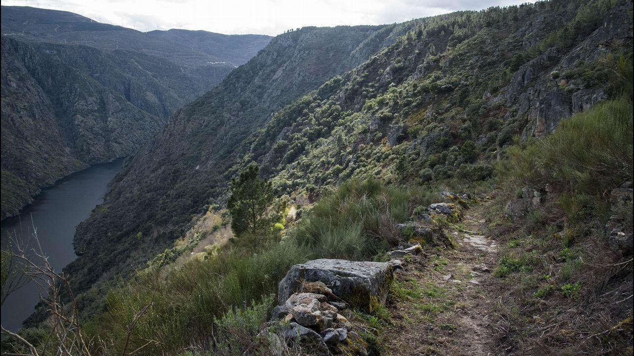 Un tramo del camino por encima del cañón del Sil