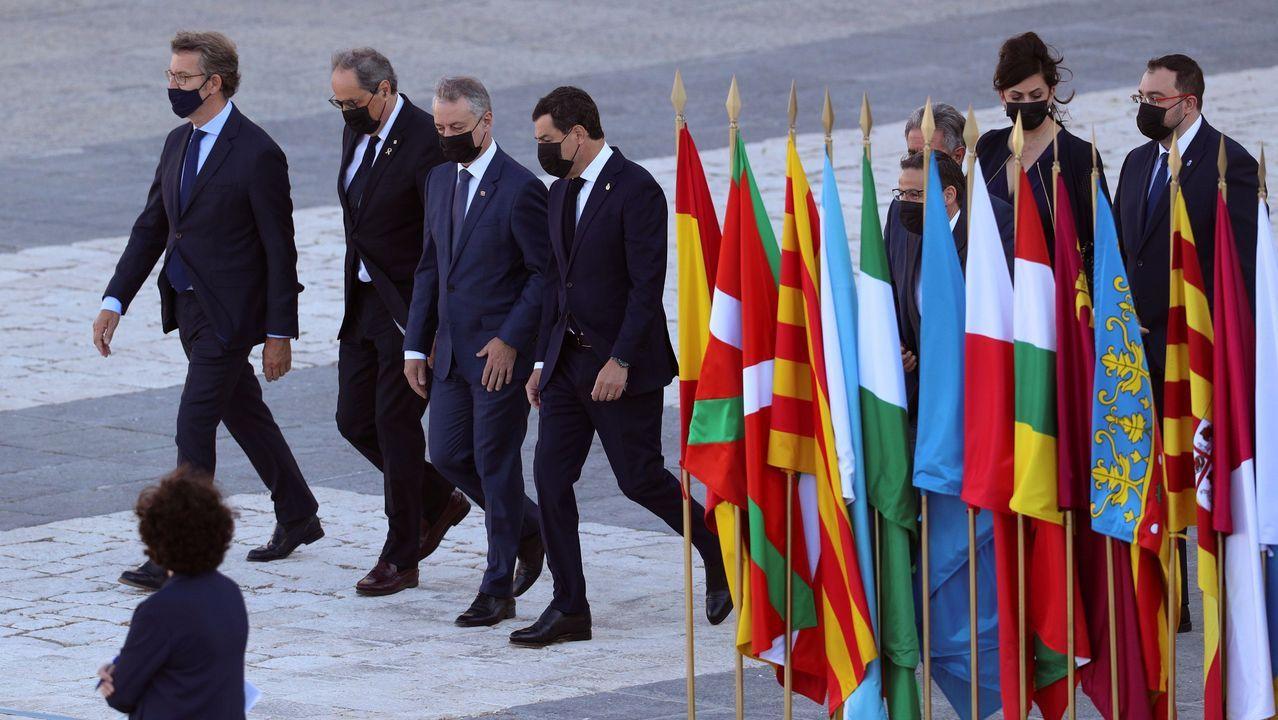El presidente de la Xunta, Alberto Núñez Feijóo, el lehendakari, Íñigo Urkullu, el president de la Generalitat, Quim Torra  y el presidente de Andalucía, Juanma Moreno