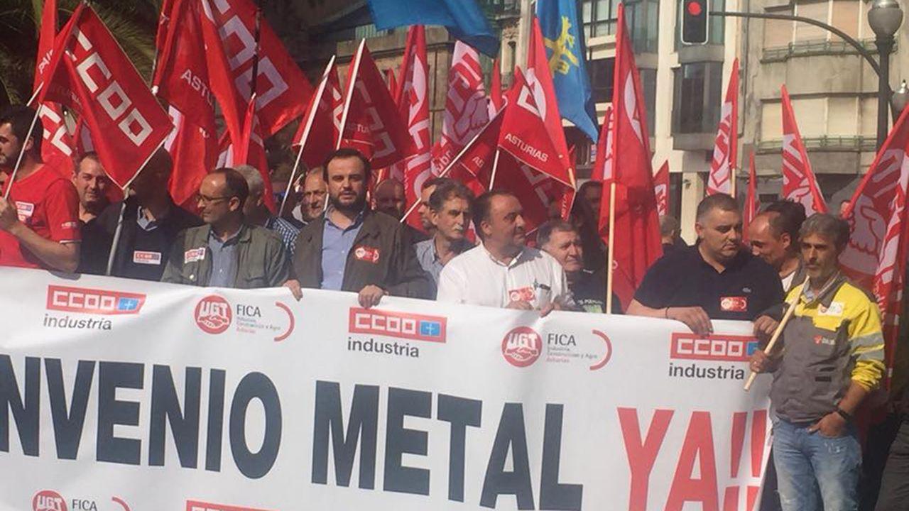 Protesta de los trabajadores del metal en Gijón