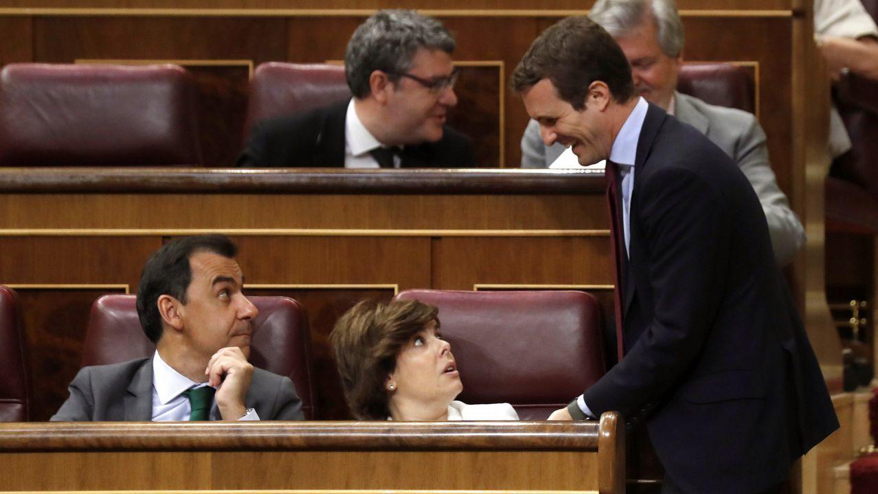Casado: «Feijoo es también patrimonio nacional».Pablo Casado y Soraya Sáenz de Santamaría, esta mañana en el Congreso