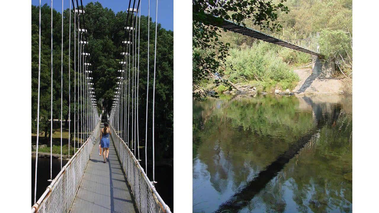 Izq. Puente colgante sobre el río Avia Drch. Soutomaior