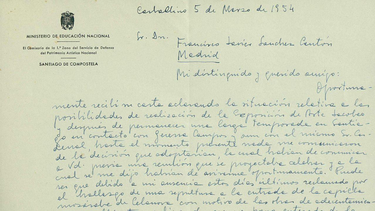 Encabezamiento de la carta de Chamoso Lamas a Sánchez Cantón en marzo de 1954