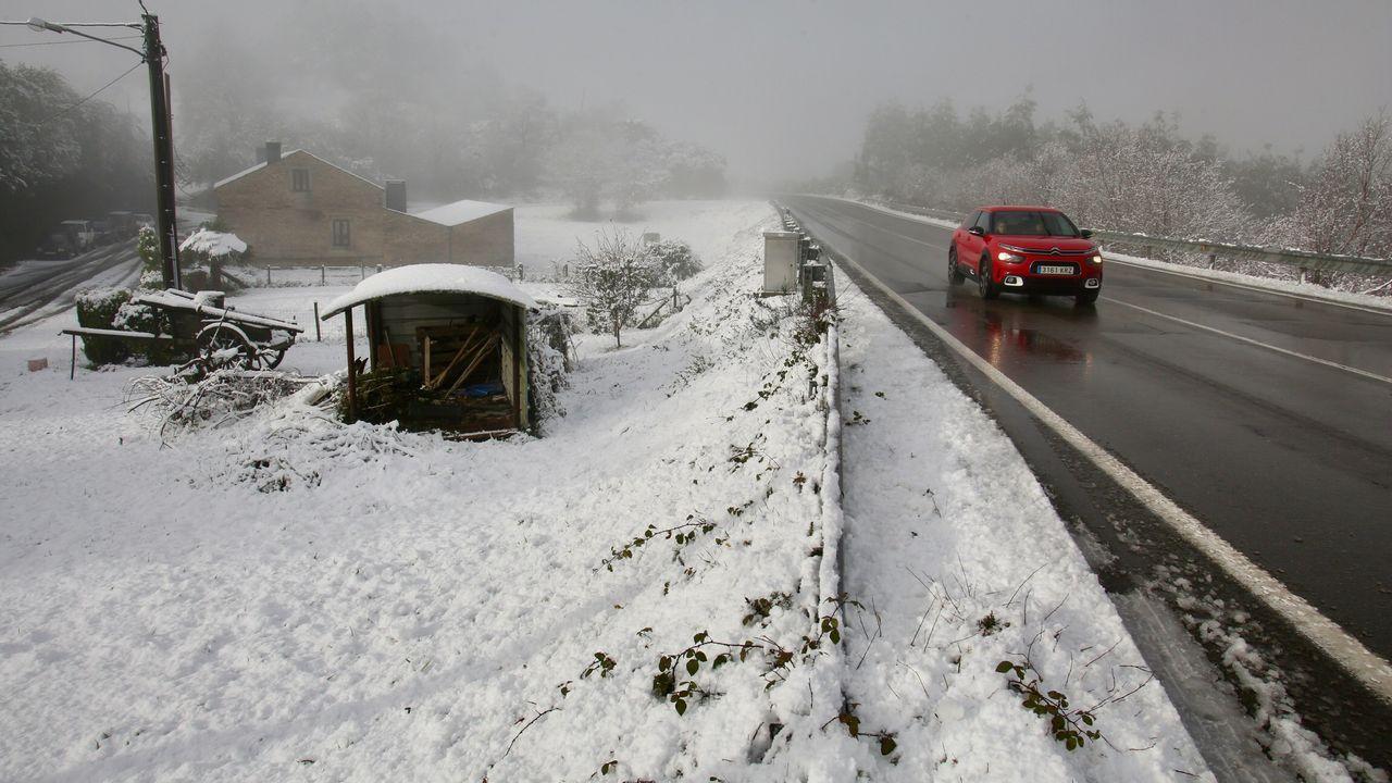 Primera nevada del invierno en As Pontes