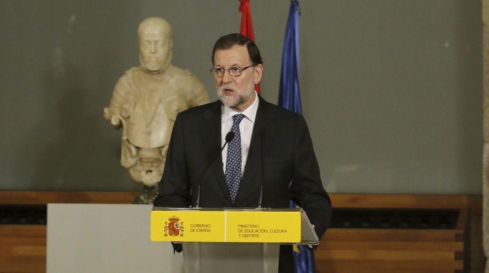 Rajoy: «No estoy en condiciones de presentarme a la investidura».Rajoy, ayer jueves en el Museo del Prado, en el acto donde aseguró que se postularía como candidato a la investidura.