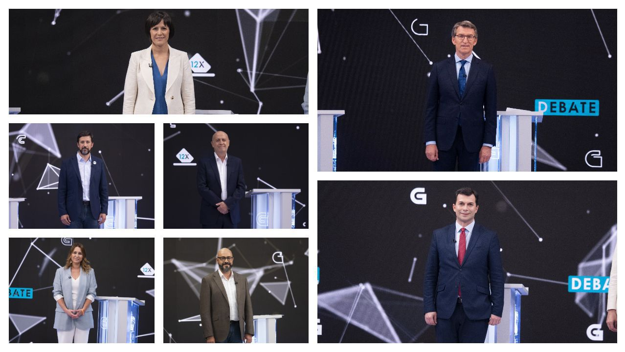 Los siete participantes en el debate