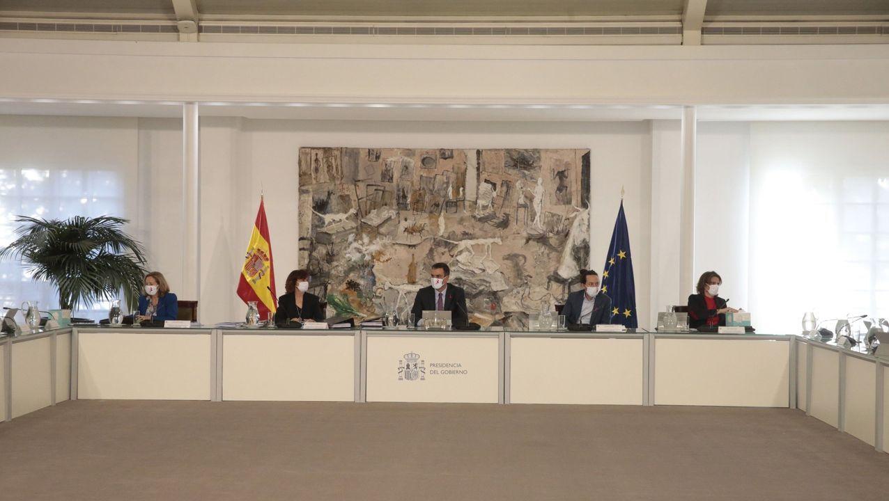 El secretario general de Comisións Obreiras, Ramón Sarmiento, y el de UGT, José Antonio Gómez, en la presentación de las movilizaciones