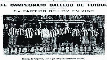 Una de las primeras fotos que publicó La Voz, en 1926, con un partido del Celta