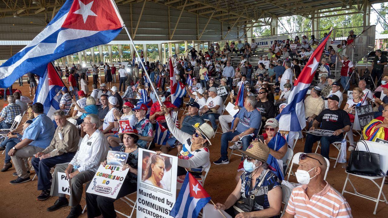 Protestas en solidaridad con el pueblo cubano en Miami, EE.UU.