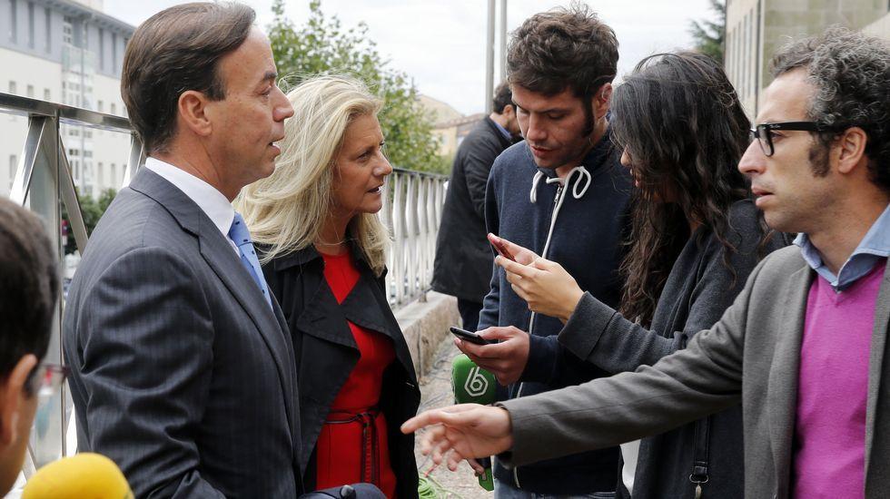 El abogado de Rosario Porto, José Luis Gutiérrez Aranguren, tras la lectura del veredicto.