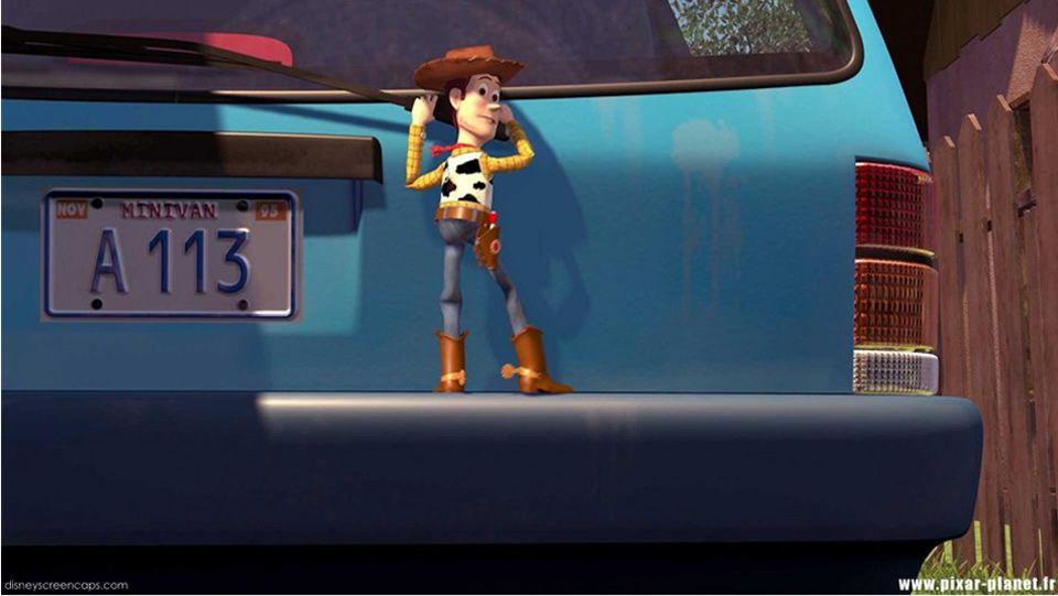 Toy Story.En la matricula de un coche en Toy Story